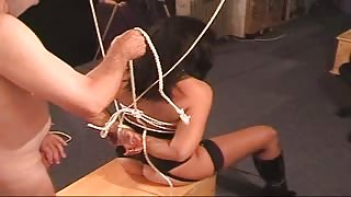 inexperienced lady gets bondaged, dominated and double plumbed by two  studs in the cellar Thumb