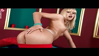 yellow-haired teenage  striptease with getting off Thumb