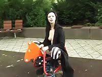 Goth doll  bare on playground fucktoys Thumb