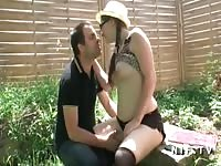 chubby french teenage monotonous sodomized in doggy style outdoor Thumb