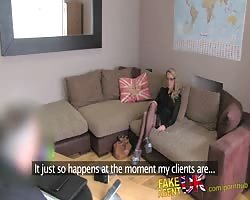 FakeAgentUK creampie for sexy blonde MILF in adult casting Thumb