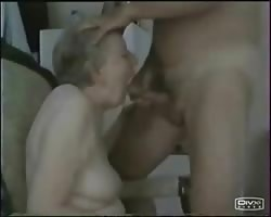 Granny sucking young cock. Amateur Thumb