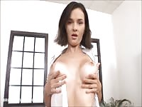 adorable  dame peels off and plays with two big brutal dildos Thumb