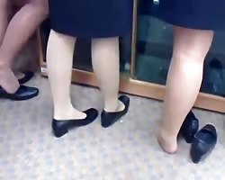 candid Nylon Feet legs Shoeplay at commencement Thumb