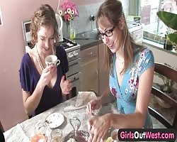 Lovely blonde lesbian chicks from Girls Out West lick and finger their holes in the kitchen Thumb