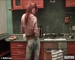 Redhead and brunette friend strip nude in kitchen Thumb