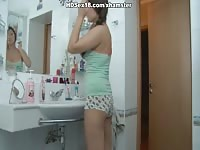 remarkable bathroom drilling with teenage cootchie spunk  dense Thumb