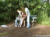Public - public sex threesome in a park Thumb