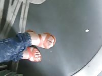 teenage dumb with beautiful feet in the tramway Thumb