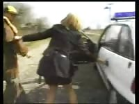 German arrested by a Hungarian police doll  with long smashes Thumb