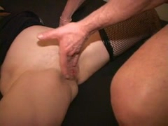 Blindfold MILF gags cougar w weird monster cock Cums on vibe Thumb