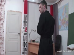 Young black schoolgirl banged by a priest in classroom Thumb