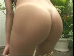 Perfect perky tit latina with a nice bush gives blowjob and gets a poolside fuck Thumb