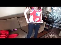 amateur Midwest Coed Filming Herself with Tripod Thumb