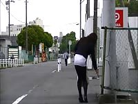 Japanese Crossdresser tights Public Exhibitionism Upskirt Thumb