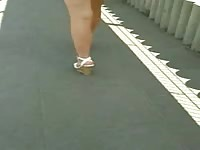 impersonal #94 blondie with affable legs in white cut-offs  and wedges Thumb