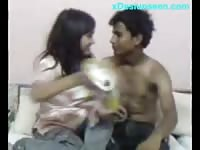 Desi College stud knuckle  Time hookup At domestic Thumb