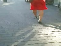 candid #107 chick in crimson listless dress and high heels Thumb