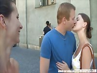 CZECH COUPLES youthfull  lovers Takes Money for Public Foursome Thumb