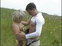 primitive Mom and her bf on nature! Russian amateur! Thumb