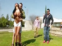 fledgling  real babe outdoors gargling  on man meat Thumb