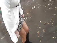 female in gloomy footwear  flashing stockings outdoor Thumb