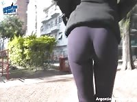 THIS is a Round beautiful bootie in public & a Deep Cameltoe Thumb