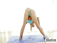 flexible blonde yoga teenage  assets  and snatch stretching Thumb