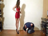 Ballbusting - red Dress stunner Thumb