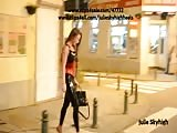 Latex catsuit legging & corset in public with tall heels Thumb