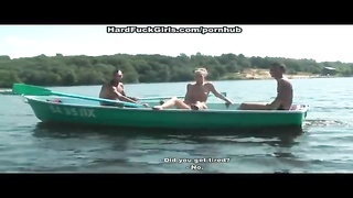 Blonde fucked hard in a boat on the lake three guys Thumb