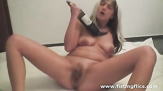 Crazy amateur fucks a wine bottle till she squirts Thumb