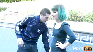 Petite blue-haired punk seduced the pool guy and fucks him dry Thumb