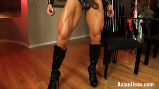 Aziani Iron Angela Salvagno in leather with strap on cock Thumb
