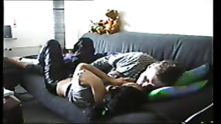 Couple on the couch gets it on lustily Thumb
