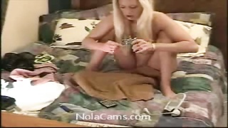 Friends wife is a naughty blonde whore who spreads her ass Thumb