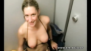 A cute and busty amateur girlfriend sucks and fucks with her boyfriend in a changing room ! Nice cum Thumb