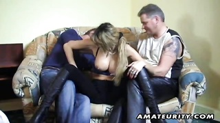 A busty German amateur girlfriend sucks two cocks and receives a cumshot in her mouth ! Homemade har Thumb