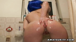 A hot brunette amateur girlfriend masturbates under her shower and gives a hot blowjob with cumshot Thumb