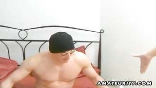 A stunning blonde amateur girlfriend homemade hardcore action with blowjob and fuck ending with a fa Thumb