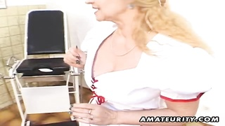 A nasty amateur Milf, dressed like a nurse, homemade hardcore action with blowjob, beaver, fuck and Thumb