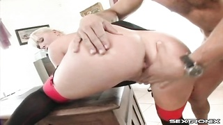 Secretary in stockings bent over a desk for anal Thumb