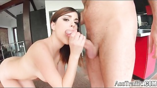 Her perfectly smooth asshole takes a cock Thumb