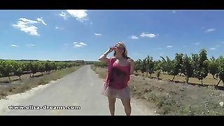 Flashing and nude on a country road Thumb