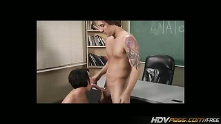 HDVPass Brunette with big hooters is poked  in Classroom Thumb