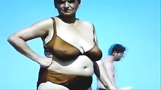 Russian huge-boobed  aged Grannies on the Beach! amateur! Thumb