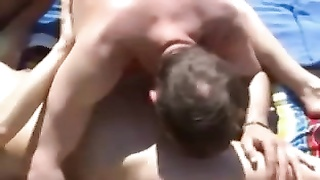 Nude Beach - little tits MMF 3 way with audience Thumb