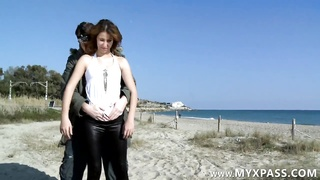 Arab female banged in rear end style on the beach Thumb