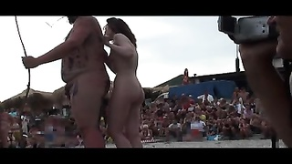 ladies with painted bodies in Russian nudist beach Thumb