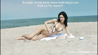 HOTKINKYJO in MICROBIKINI PROLAPSE & going knuckle deep  AT PUBLIC BEACH Thumb